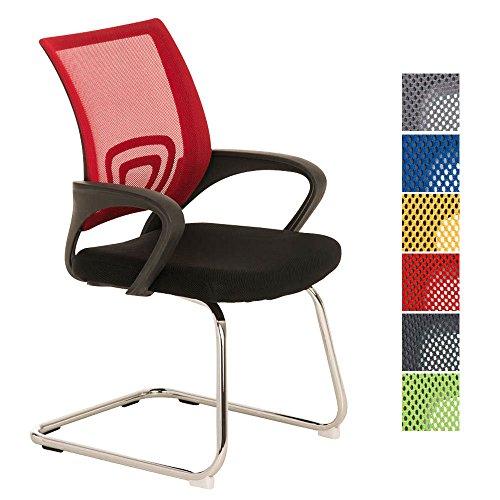 CLP Freischwinger-Stuhl mit Armlehne EUREKA, idealer Besucherstuhl / Konferenzstuhl Rot