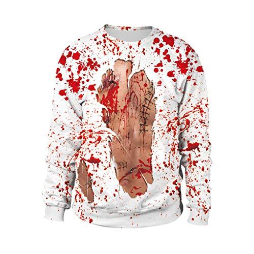 Engel Kostüm Land - Honestyi Mens Casual Scary Halloween Liebhaber 3D Print Party Langarm NOhoodie Top Bluse B102 013 Paar Langarm Sweatshirt mit 3D Druck für Halloween