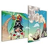Kunstdruck - Kinderbild Pirat auf Insel Cartoon - Bild auf Leinwand - 130x80 cm 3 teilig - Leinwandbilder - Kinder - Abenteuer - Schatzinsel - Schatzsuche
