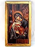 Handgefertigt aus Holz Griechisch Christian Orthodoxe Holz Icon Virgin Mary & Jesus Christus/H2