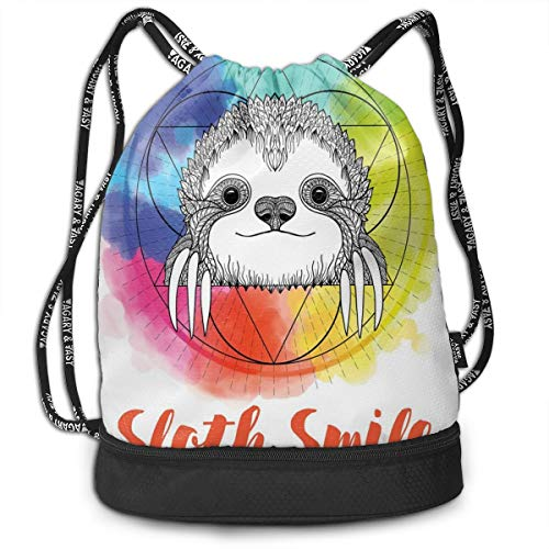 LULABE Printed Drawstring Backpacks Bags,Rainbow Colored Backdrop Image with Sketchy Happy Smiling Cartoon Sloth Art,Adjustable String Closure