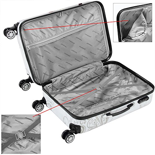 Hartschalen Koffer Butterfly Reisekoffer Trolley Reisegepäck Handgepäck gummierte Zwillingsrollen Polycarbonat Alu-Teleskopgriff - M - 4