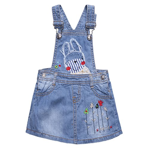 Baby-Mädchen Denim-Kleid Rock Jeans Latzrock Latzkleid Mini Jeanskleid mit Hosenträger 9-12 Monate -