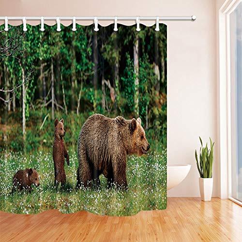 hänge für Bad Wilde Mutter Grizzlybär Spielen Ihre Babys im Wald Dschungel Bad Duschvorhang 180X180 cm ()