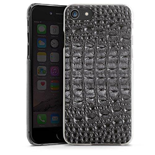 Apple iPhone X Silikon Hülle Case Schutzhülle Krokodilhaut Look Schwarz Krokodil Muster Hard Case transparent