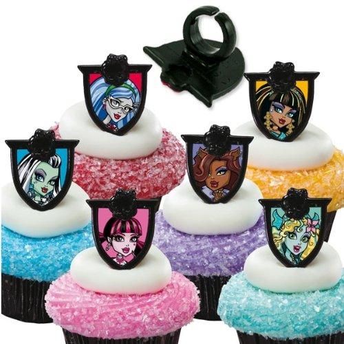 Monster High Dekoringe, 12 Stück, 3x4cm, für Muffins und als Mitgebsel (Monster High Ringe)