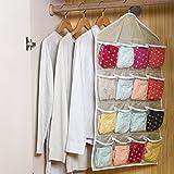 FAVOLOOK durchsichtige Tasche mit 16 Fächern zum Aufhängen an der Tür, für Schuhregal oder Kleiderbügel, Unterwäsche, BH, Socken, Schrank-Lagerung, Organizer, beige, Free Size