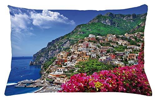 ABAKUHAUS Italia Copricuscino, Positano Amalfi Napoli, Stampa Digitale, Resistente all'Acqua e Colori Non sbiadenti, 65 x 40 cm, Rosa Verde Blu