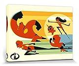 1art1 115474 Die Unglaublichen - 2, Bob Parr, Helen, Violet, Flash, Mr. Incredible, Elastigirl, Eilen Zu Hilfe Poster Leinwandbild auf Keilrahmen 80 x 60 cm