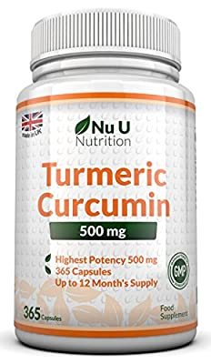 Turmeric Curcumin 500mg, 365 Capsules (1 Year Supply) by Nu U Nutrition