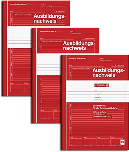 Brunnen 1042574 Ausbildungsnachweis / Berichtsheft, A4, liniert, 28 Blatt, rot (3er Pack)