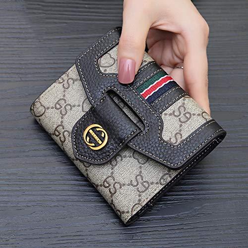 Leder Tri-fold Brieftasche (Lwlroyti Kleine Geldbörse Damen Short Section Leder Multi-Card Folding Leder Tri-Fold Brieftasche Einfache Schnalle Schnalle Brieftasche, schwarz)