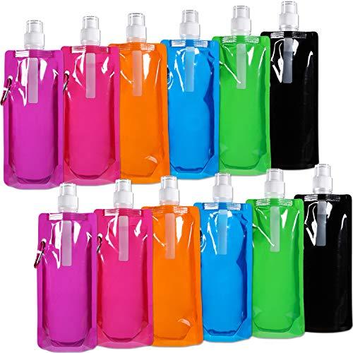 Blulu Faltbare Wasserflasche Wiederverwendbare Trinkwasserflasche mit Klammer zum Radfahren, Wandern, 6 Farben (12 Stücke)