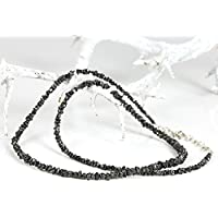 Diamant Kette aus schwarzen Rohdiamanten (Sterlingsilber 925) Diamanten Kette mit Expertise