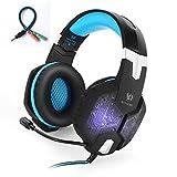 Headset Gaming PC PS4 ArkarTech Mikrofon Kopfhörer Gamer Ultra-leichtes Einstellbare Bass-Stereo Lautstärkenkontrolle LED-Licht für PC (Splitter Adapter frei für PS4, Laptops, Tablets und Smartphones) Blau