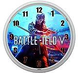 LL Wanduhr Battlefield V 5 Design ca. 20 cm Durchmesser mit lautlosem Uhrwerk Unisex Kinderzimmer Büro Arbeitszimmer BF 1 BF 4 BF 3 (Orange)