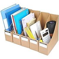 Porta revistas YOTINO, archivadores de cartón corrugado 5pcs con etiquetas adhesivas, organizador de documentos y archivos, papel Kraft marrón,9 x 26.3x 27 c