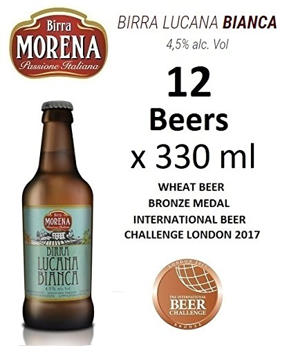 12 X Birra Morena Lucana Bianca 4,5% alc vol - ml 330 -Wheat Beer - Blanche - Artigianale - Craft Beer - Italian Beer - Award - Best Gift Events Christmas Easter