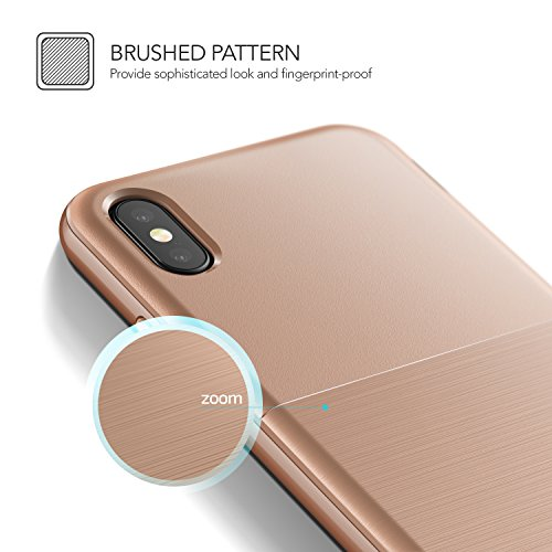 Cover iPhone X, VRS Design® Custodia [Bianca+Rosa] Ultra-Sottili Antiurto Doppia Custodia Protettiva [High Pro Shield] Morbido TPU con Paraurti PC per Apple iPhone X Edizione (2017) Oro Arrossire
