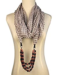 Vozaf Women's Cotton Stoles & Scarves - Grey Cream And Blue With Geometrical Print And Beaded Necklace