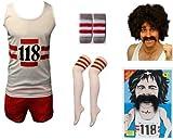 118 118 coureuse de Marathon Fancy dress Déguisement pour femme Débardeur et short chaussettes avec une perruque/Moustache Thème Moustache (1StopClothingCo bracelet de femme Taille 36-42)