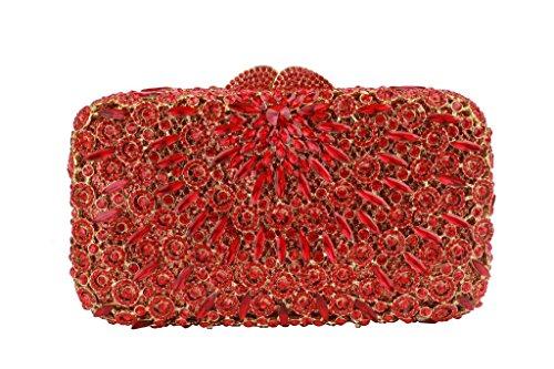 Yilongsheng Abbagliante Borse Da Sera Da Donna Con Cristalli Di Cristallo Con Perline Sparse Rosso