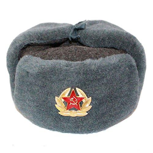 RUSSISCHE FELLMÜTZE WOLLE, SCHAPKA USCHANKA, WINTERMÜTZE MILITÄRMÜTZE DER SOWIETISCHEN ARMEE. SIZE M, GR. 56
