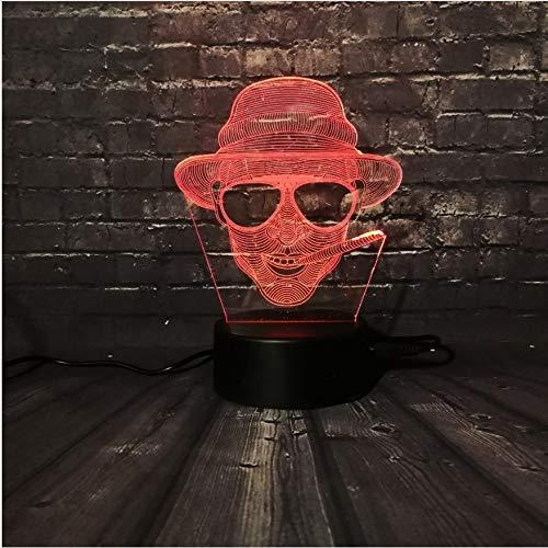 Led-Nachtlicht Cool Man Sunglass Boy Dekoration Lampe Schlafzimmer Schlaf Licht 7 Farbwechsel Kid Christmas Boy Geschenk
