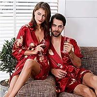 Familia pijamas, pijamas familia, impresa seda pijama de seda de los amantes del traje rojo chino señoras del estilo hombres de la camiseta de manga larga de seda Albornoz verano ( Color : Women Red )