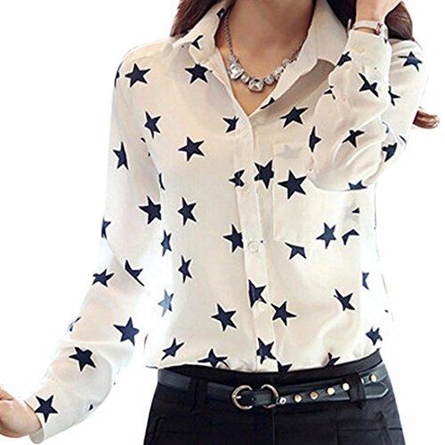 QIYUN.Z Frauen Chiffon Oberseiten Der Schwarzen Stern Gedruckt Langarm Revers Weiss OL Shirts Bluse (T-shirt Design-womens Fitted)