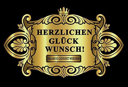 Oblique Unique® Aufkleber Flaschenetikett Herzlichen Glückwunsch Etikett Gold elegant