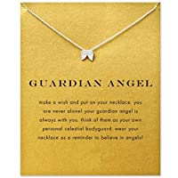 Underleaf Good Luck Silver Wings Pendant Chain Clavicle Short Necklace With Message Card For Girls