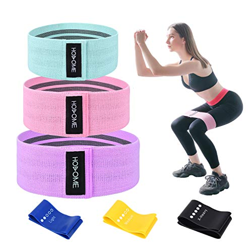 Hosome Fitnessbänder Set, 6er Set Widerstandsbänder, 3 Set Fabric Loop Bänder und 3 Set Gymnastikband aus Latex Elastisch Trainingsbänder für Muskulatur, Bauchmuskeln, Beine und Hüften