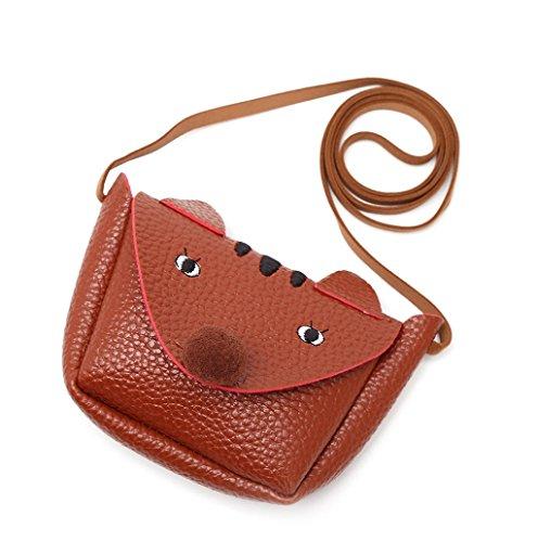 Dairyshop Vestito sveglio della ragazza di Fox ha modellato il corpo della borsa della borsa del sacchetto di spalla del messaggero della scuola dei bambini (caffè) caffè