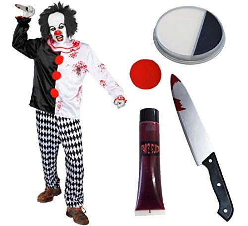 KILLER CLOWN KOSTÜM SET = VON ILOVEFANCYDRESS®=BEINHALTET EIN KOSTÜM ERHALTBAR IN VERSCHIEDENEN GRÖSSEN / EINE TUBE KUNST BLUT /SCHWARZ UND WEISSES MAKE UP /EIN BLUTIGES PLASTIK MESSER /EINE ROTE SCHAUMSTOFF (Clown Up Böse Make)