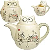 2 TLG. Set - Teekanne / Kaffeekanne + Keksdose - lustige Eulen im Winter - mit Deckel & Henkel - 1 Liter - weiß edel - stabil aus Porzellan / Keramik - Kaffee..