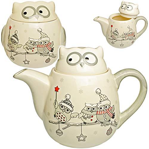 2 TLG. Set - Teekanne / Kaffeekanne + Keksdose - lustige Eulen im Winter - mit Deckel & Henkel - 1 Liter - weiß edel - stabil aus Porzellan / Keramik - Kaffee.. - Tee-kanne Keramik Große