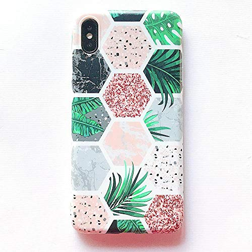 POOPFIY IPhoneX Cover Mattierter Marmor Design Hexagon Flower Printed Bumper TPU aus weichem Gummi für iPhone X iPhone XS iPhone XS MAX,iPhoneX/XS5.8 Flower Design Iphone