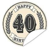 40. Geburtstag Aufkleber | 9,5cm groß | rund | inkl.Alles Gute - Postkarte | Personalisieren Sie Ihr Geschenk mit einem tollen Aufkeber