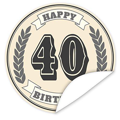 40. Geburtstag Aufkleber | 9,5cm groß | rund | inkl.Alles Gute - Postkarte | Veredeln Sie das Geschenk mit einem tollen Aufkleber