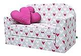 LULANDO Classic Kindersofa Kindercouch Kindersessel Sofa Bettfunktion Kindermöbel zum Schlafen und Spielen, Farbe: Herzen
