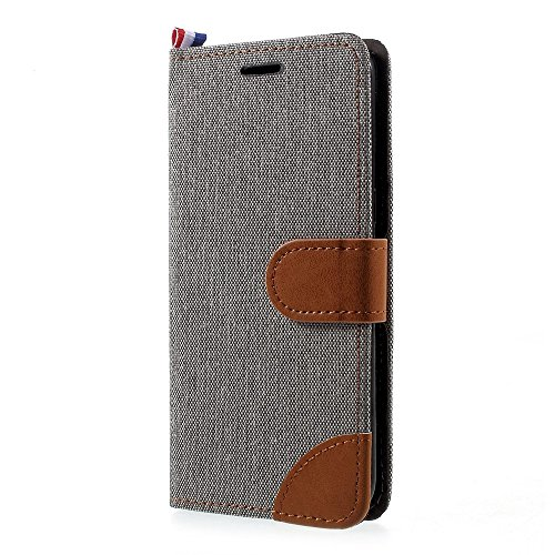 jbTec® Flip Case Handy-Hülle Book #M64 Jeans zu Samsung Galaxy S8 - Handy-Tasche Schutz-Hülle Cover Handyhülle Bookstyle Booklet, Farbe:Grau, Modell:Galaxy S8 / Duos/SM-G950