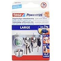 tesa Powerstrips LARGE / Doppelseitige Klebestreifen zur Montage von Gegenständen bis 2kg - wieder ablösbar  1 x 10 Strips