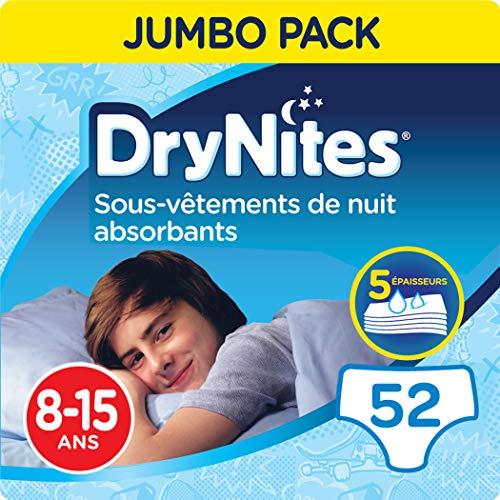 DryNites, Sous-vêtements de nuit absorbants jetables, Pour garçons, Taille: 8-15 ans (27-57 kg), 52 culottes (4 x 13 unités), Huggies