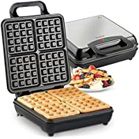 VonShef Large Belgian Waffle Maker Machine – Quad Waffle Iron with Non-Stick Coating & Automatic Temperature Control – 1100W