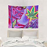 arazzo Home Art Decor Tapestry Wall Hanging Unique Large Beach Towels Dorm Blanket Throw Bedspread for Living Room Bedroom Trippy Marijuana Leaf Weed Pot Leaf