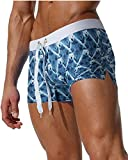 Gfirmament Mens Swim Trunks Hosen Bademode Shorts Slim Wear Mit Reißverschluss Tasche (M, Grey1)