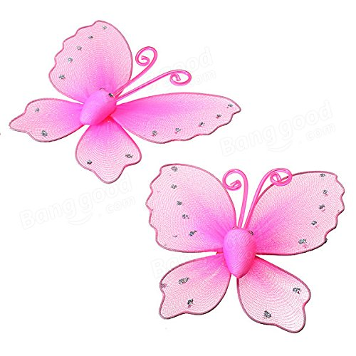 Anddod A Pair Butterfly Design Curtain Clip Metal Window Tie Back Hold - Pink Glitter Mesh Wings