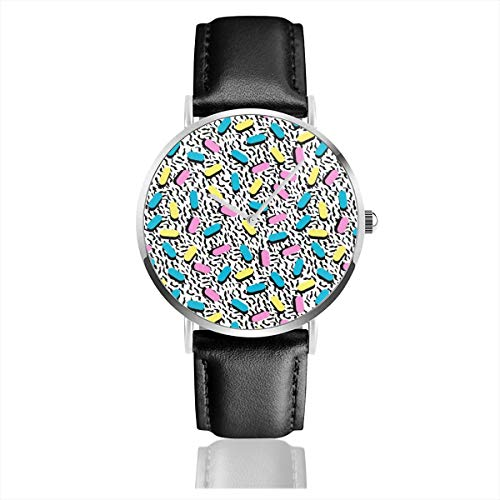 * NEW * 80s Triangles Pattern Watch with Leather Strap. A unique and eye-catching retro fashion watch.