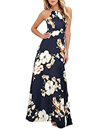 3ab1eefc3cf1 Romacci Sexy Women Maxi Dress Halter Neck Floral Print Sleeveless Summer  Beach Long Slip Dress S